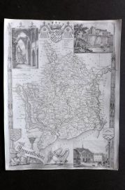 Thomas Moule C1838 Antique Map. Monmouthshire, Wales